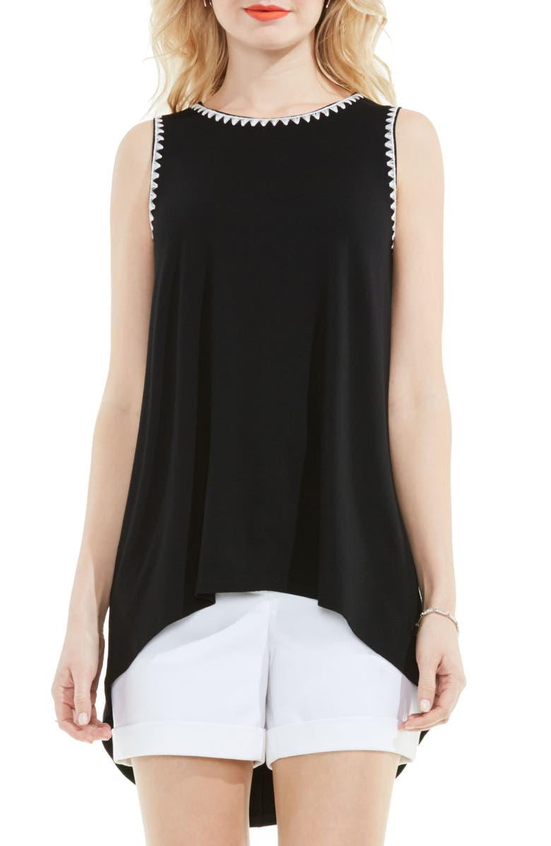 VINCE CAMUTO Embroidered High/Low Top, Main, color, 006