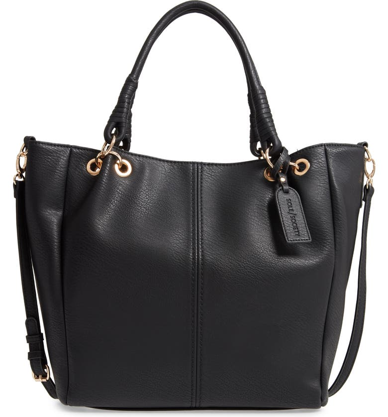 SOLE SOCIETY Rubie Faux Leather Tote, Main, color, 001