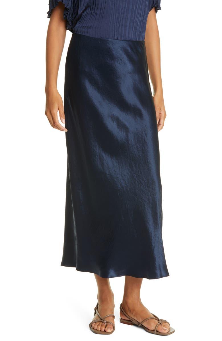 VINCE Side Slit Satin Slip Skirt, Main, color, COASTAL