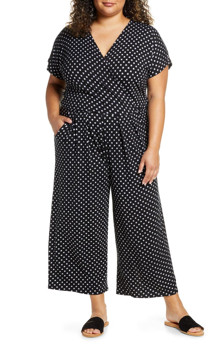 Loveappella Wrap Wide Leg Cropped Jumpsuit Plus Size