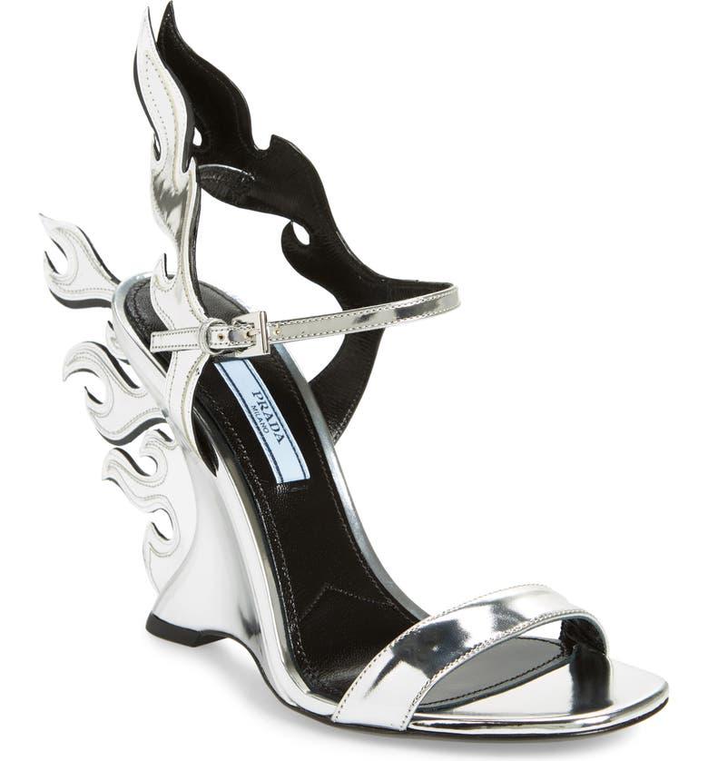 PRADA Flame Sandal, Main, color, 040