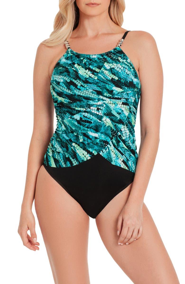 6fe223a5a588b Aquarius Lisa Underwire One-Piece Swimsuit, Main, color, BLACK / MULTI