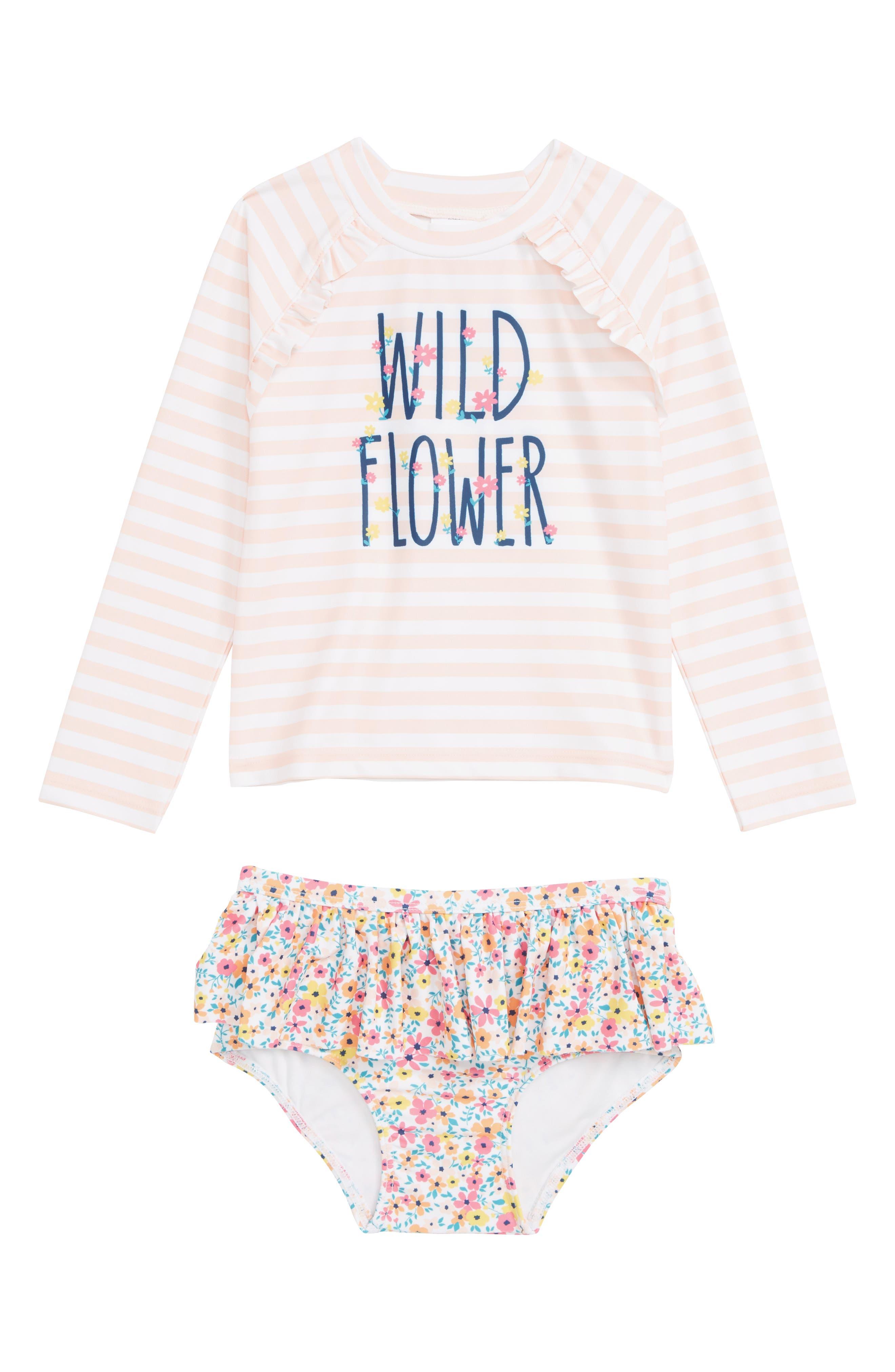 5d55ea6017 Infant Girl's Tucker + Tate Two-Piece Ruffle Rashguard Swimsuit