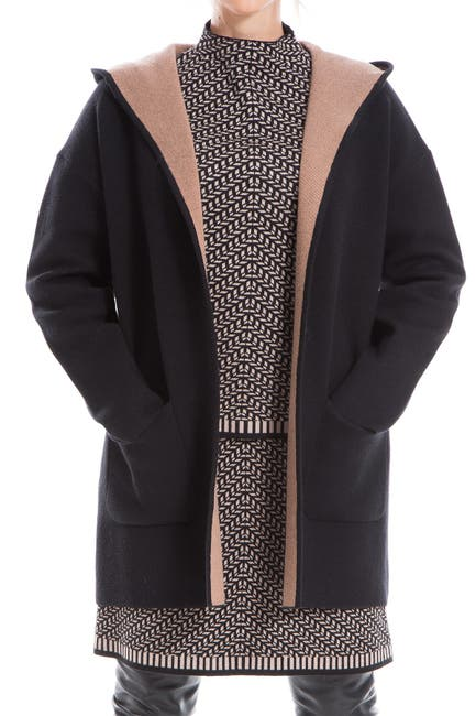 Image of Max Studio Hooded Long Cardigan Coat