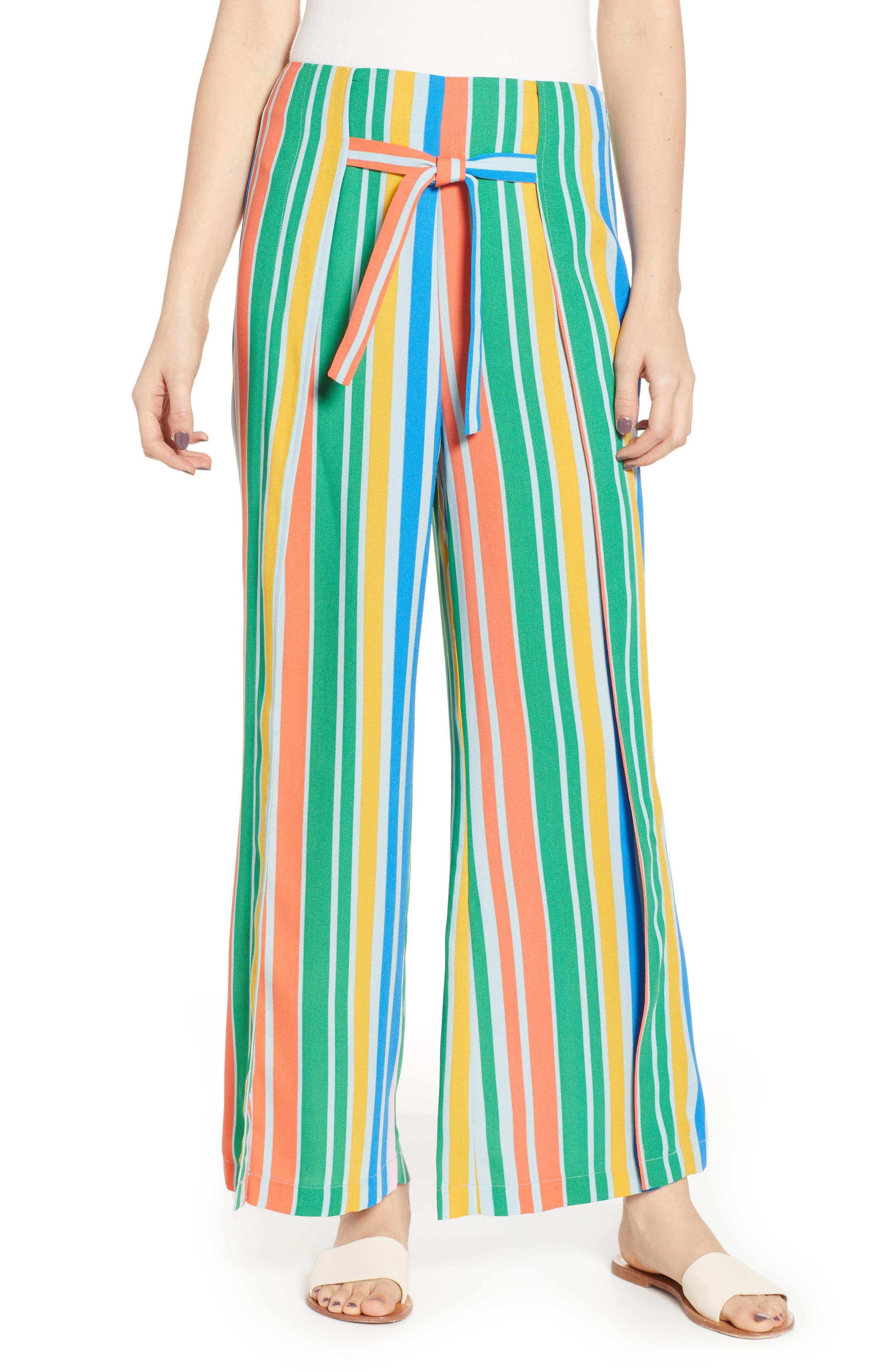 Tie Front Wide Leg Pants, Main, color, BLUE FRENCH MULTI STRIPE
