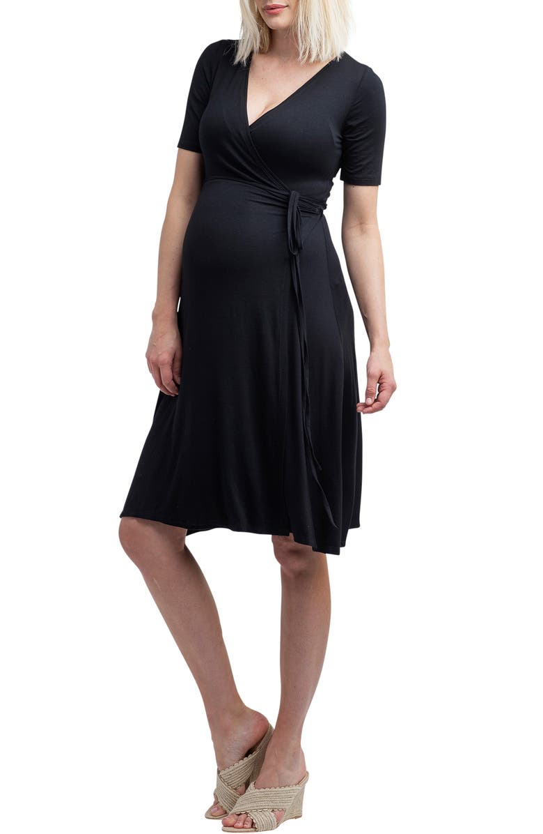 NOM MATERNITY Maya Wrap Maternity Dress, Main, color, BLACK