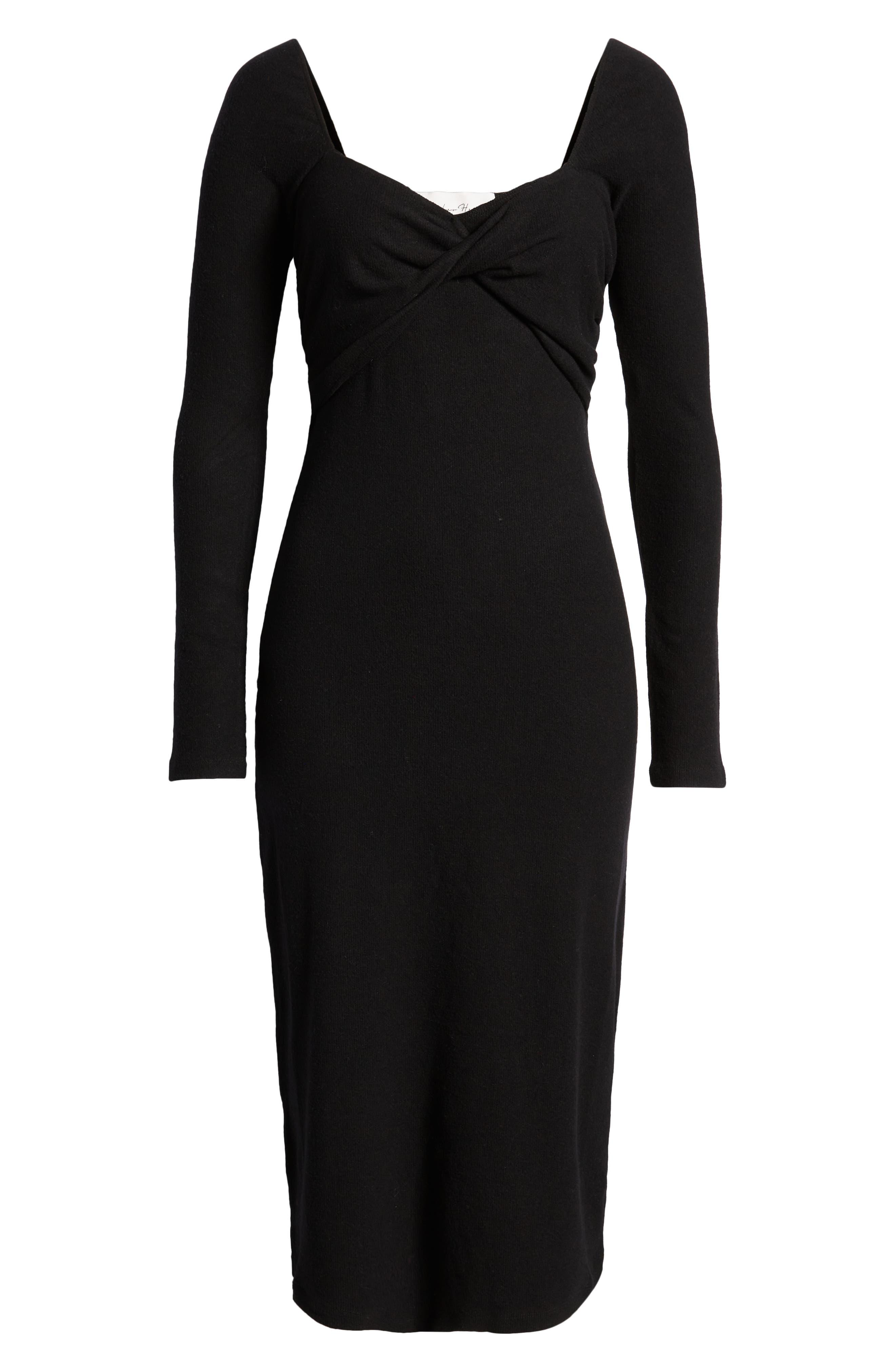 Twist Front Long Sleeve Midi Dress