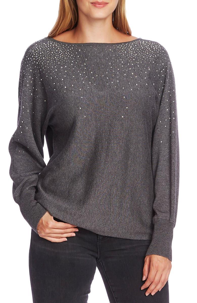VINCE CAMUTO Crystal Embellished V-Back Cotton Blend Sweater, Main, color, MEDIUM HEATHER GREY