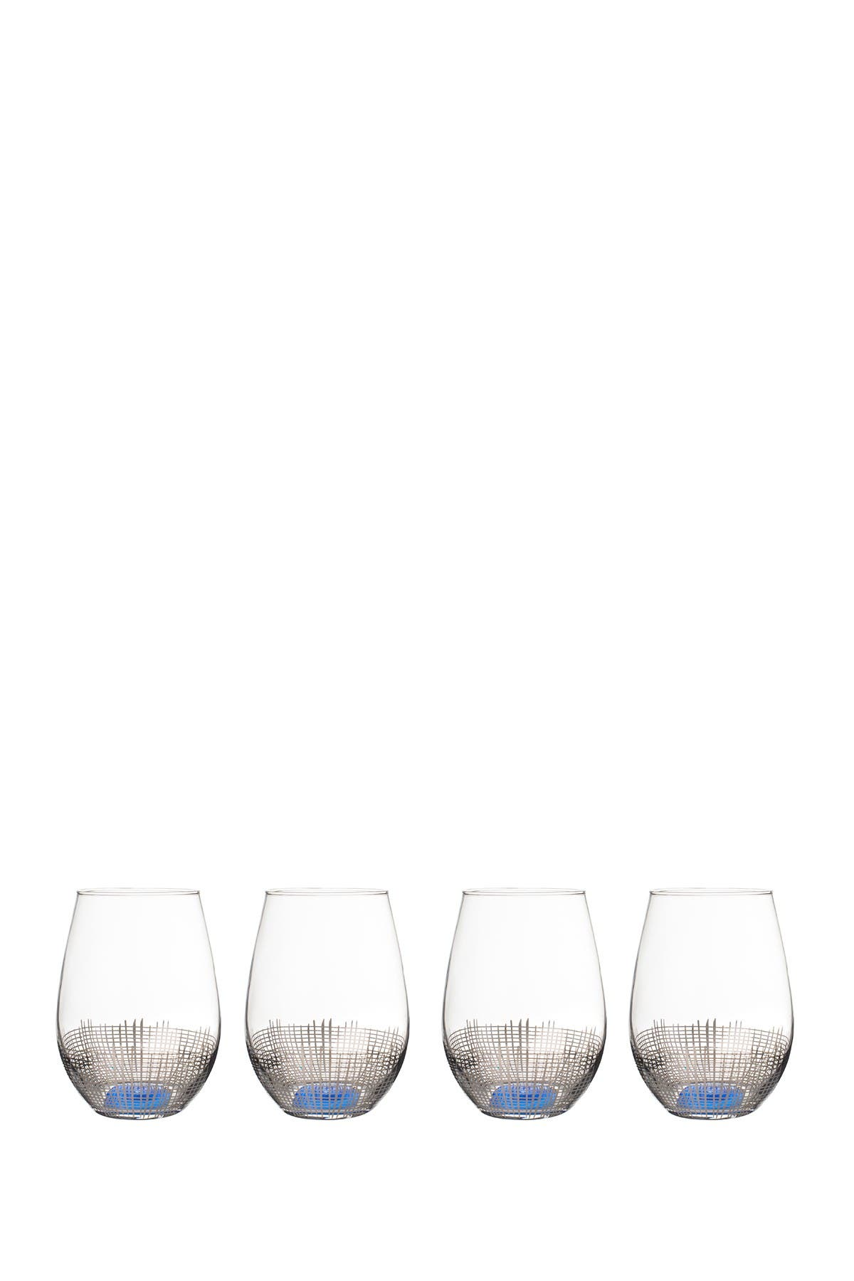 Image of Jay Import Silver/Blue Annalise Stemless Goblet - Set of 4