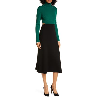A.l.c. Leander Long Sleeve Rib Sweater Dress, Green