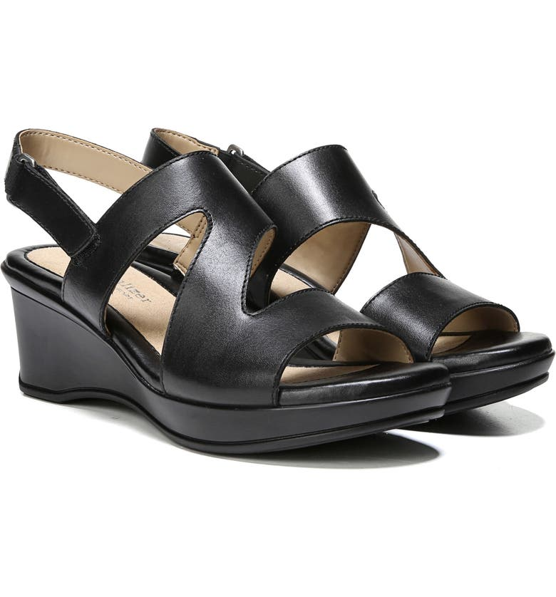NATURALIZER Valerie Wedge Sandal, Main, color, BLACK LEATHER