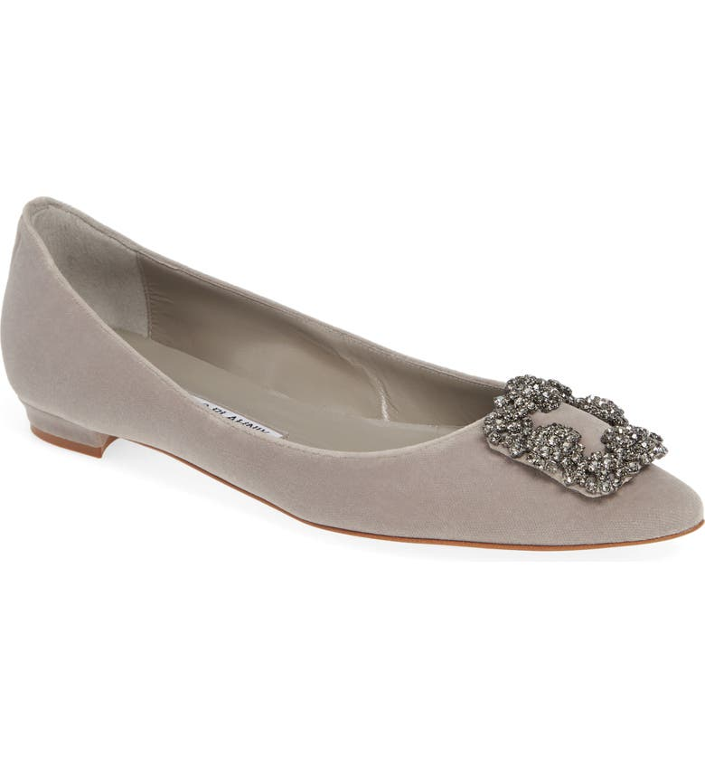 MANOLO BLAHNIK Hangisi Pointy Toe Flat, Main, color, GREY VELVET