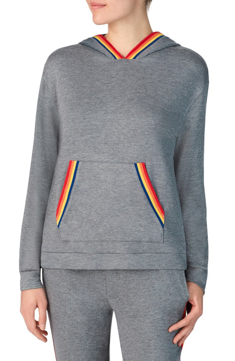 ROOM SERVICE Love Wins Rainbow Trim French Terry Hoodie, Main, color, DARK GREY HEATHER