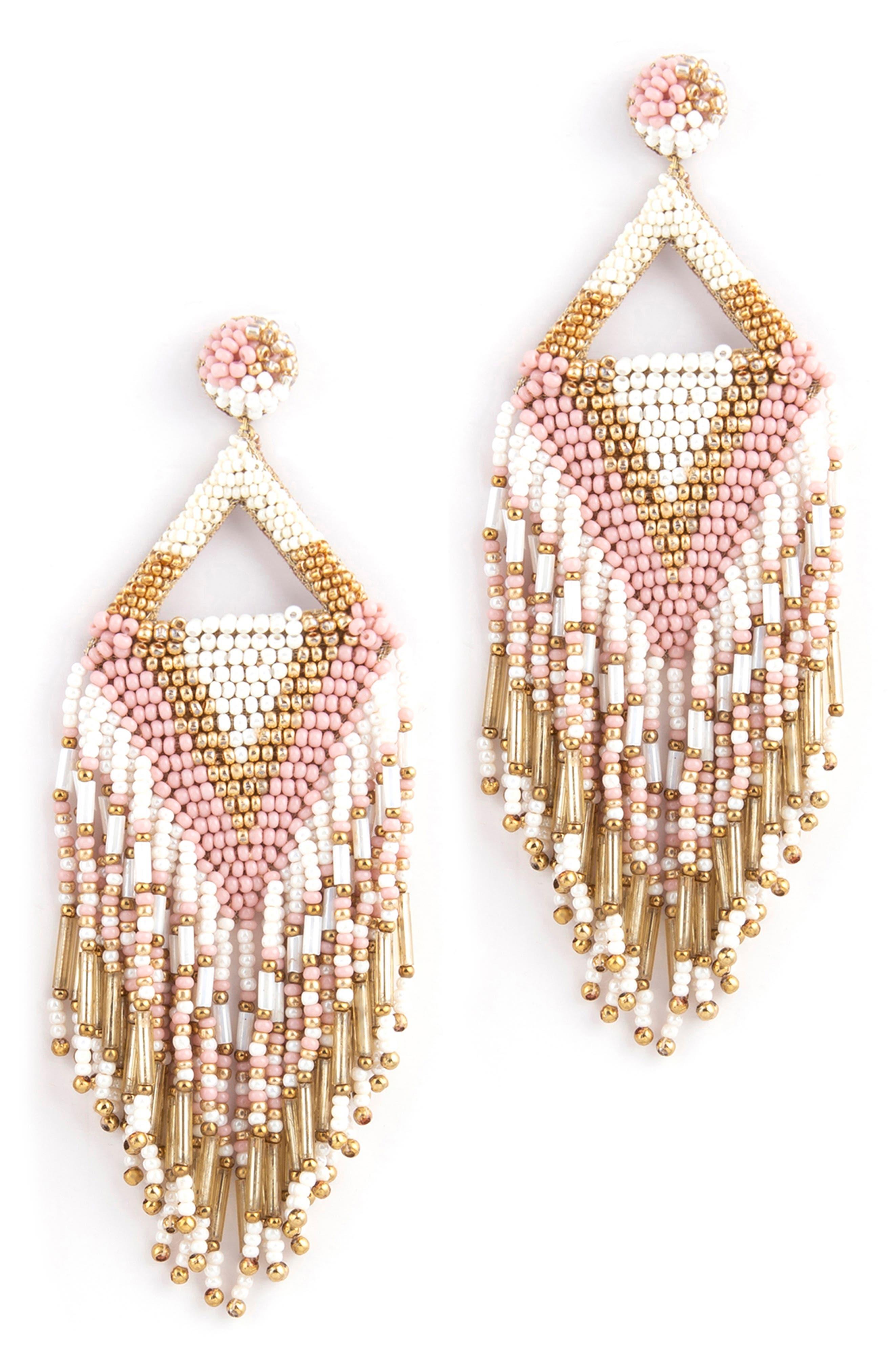Bina Beaded Tassel Drop Earrings