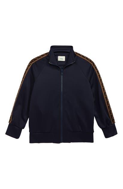 Fendi Kids' Boy's Track Jacket W/ Logo Taping In Blue