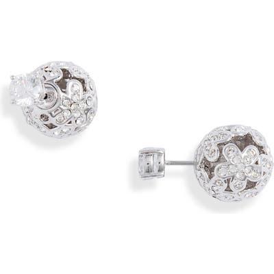Nadri Reversible Flower Ball Stud Earrings