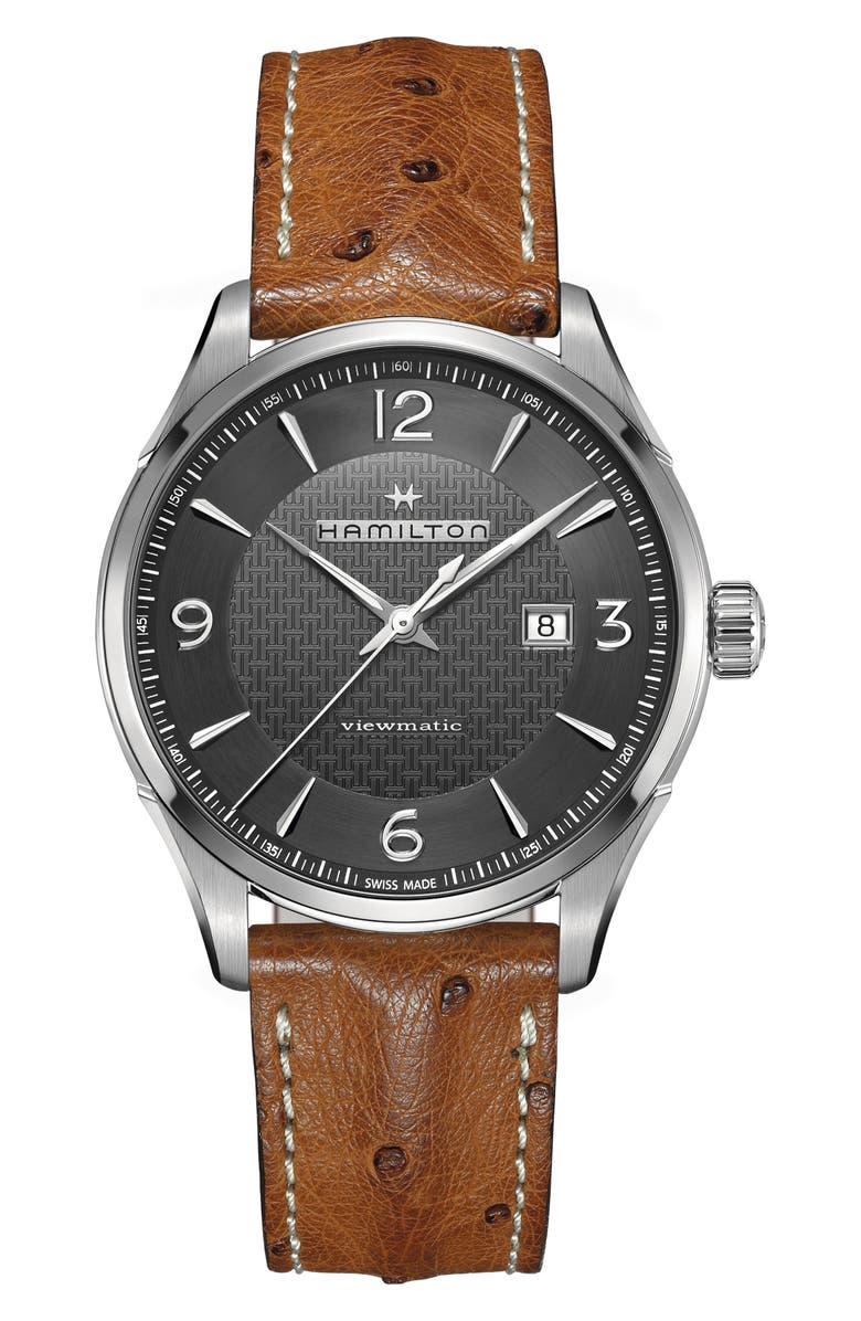 HAMILTON Jazzmaster Viewmatic Auto Ostrich Leather Strap Watch, 44mm, Main, color, 200