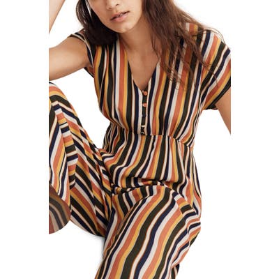 Madewell Rainbow Stripe V-Neck Button Front Jumpsuit, Yellow