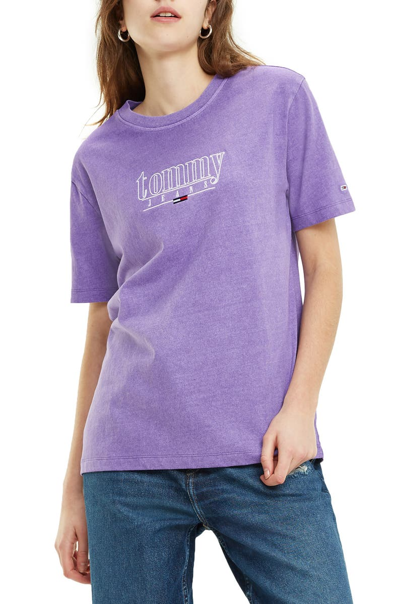 TOMMY JEANS TJW Garment Dyed Logo Tee, Main, color, HYACINTH