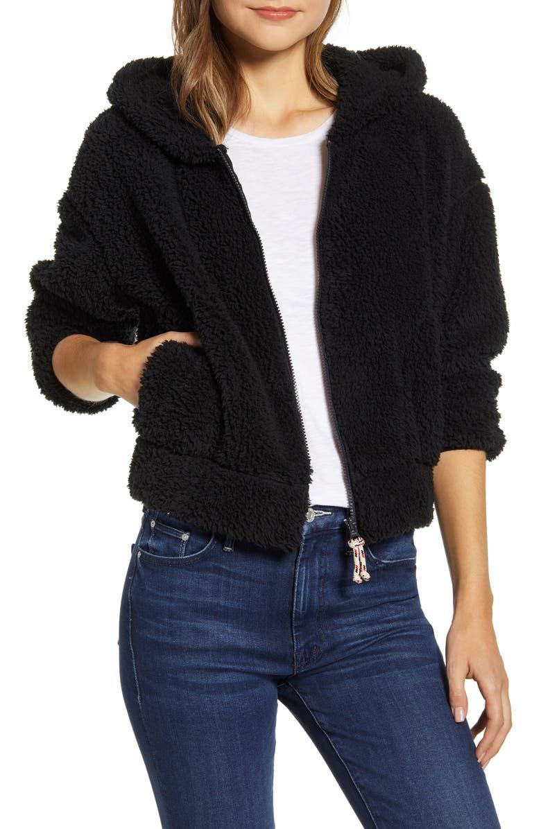 LOU & GREY Fluffy Faux Fur Jacket, Main, color, 001