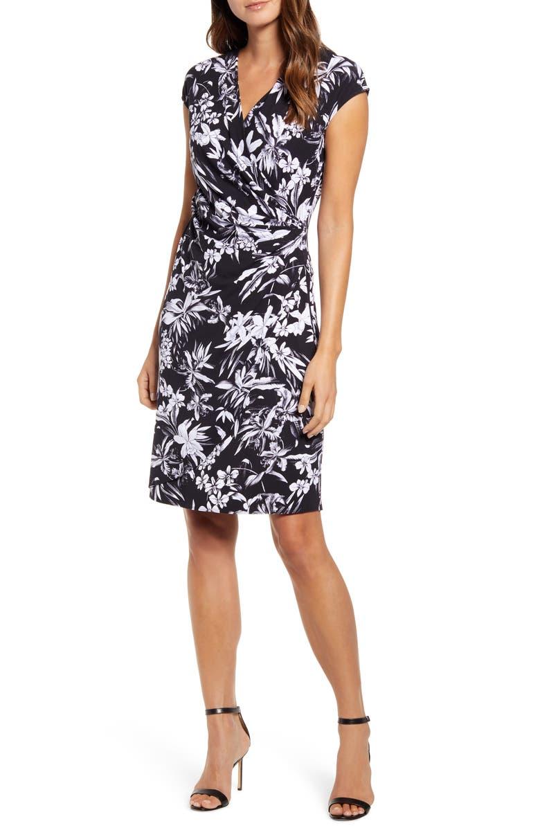 TOMMY BAHAMA Floriana Faux Wrap Dress, Main, color, BLACK