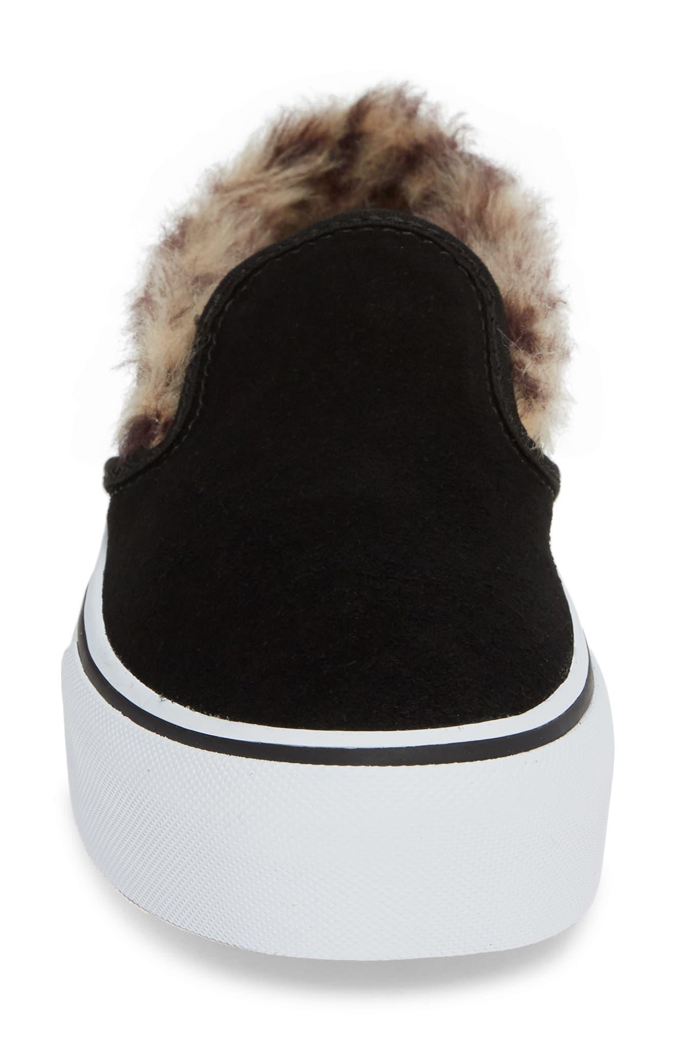 ,                             Classic Faux Fur Slip-On Platform Sneaker,                             Alternate thumbnail 4, color,                             001