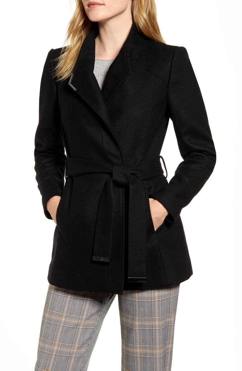 TED BAKER LONDON Drytaa Wool Blend Short Wrap Coat, Main, color, 001