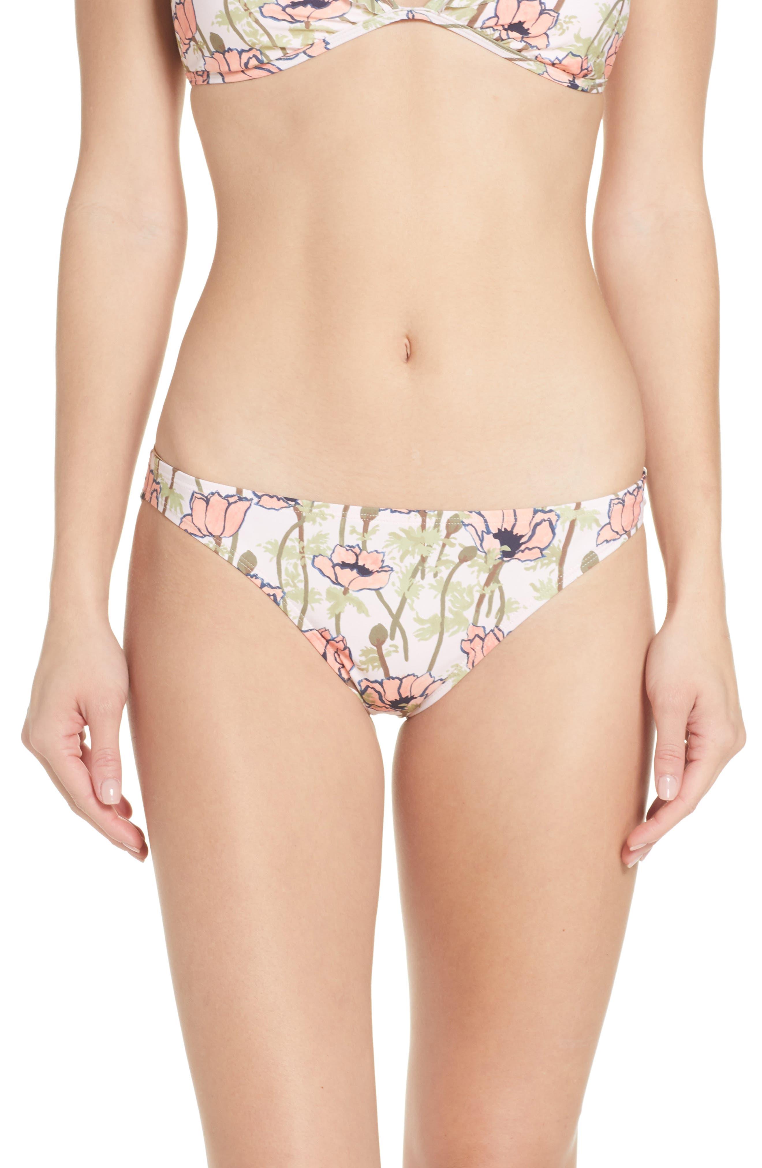 Tory Burch Floral Print Hipster Bikini Bottoms, Pink