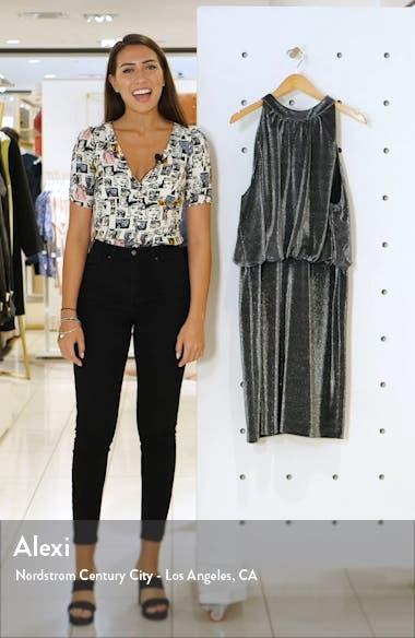 Sleeveless Metallic Blouson Dress, sales video thumbnail