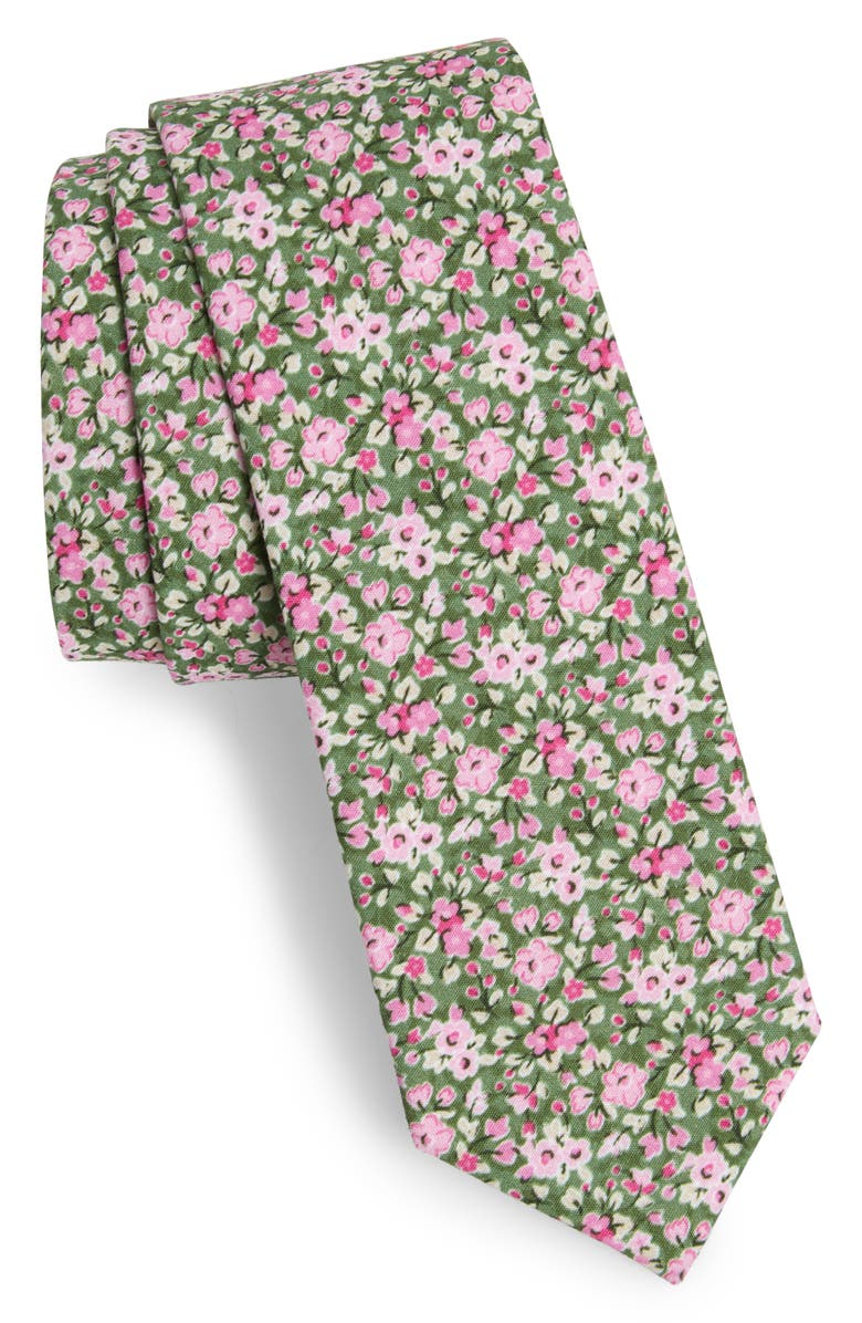THE TIE BAR Freesia Floral Cotton Tie, Main, color, 302