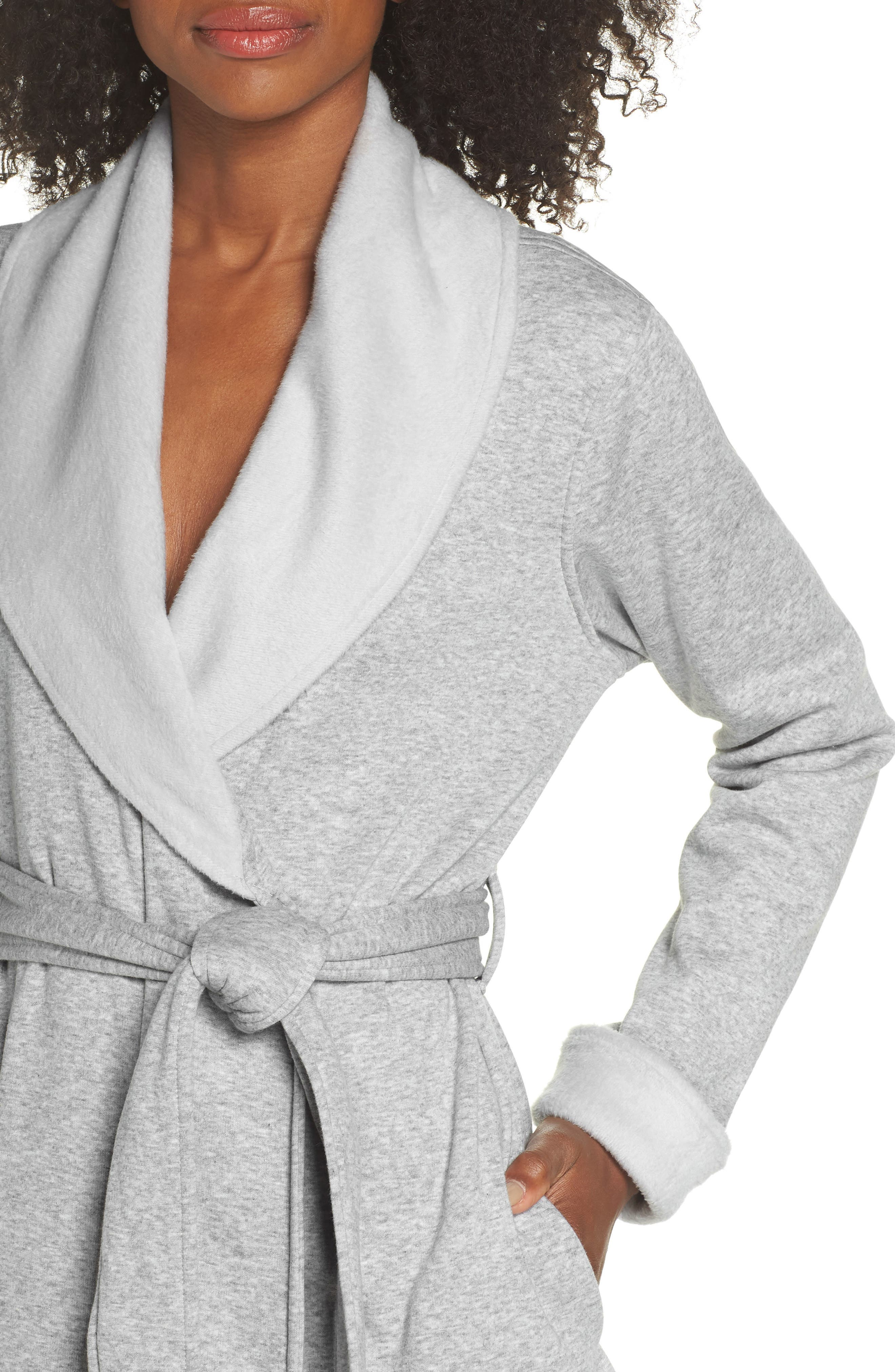 ,                             Blanche II Short Robe,                             Alternate thumbnail 4, color,                             SEAL HEATHER