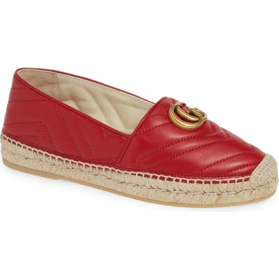 Gucci Pilar Chevron Flat Espadrille - Red