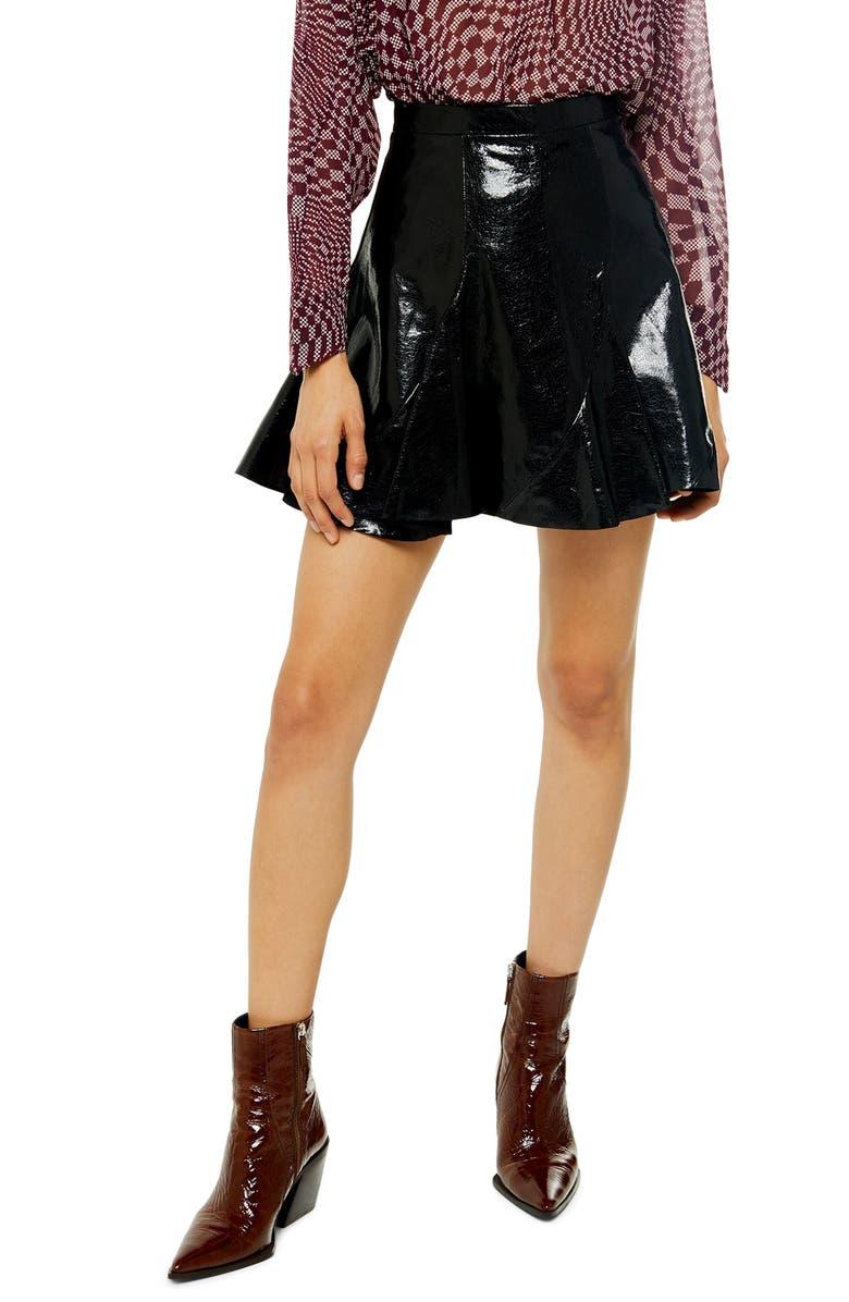 TOPSHOP Faux Leather Miniskirt, Main, color, BLACK