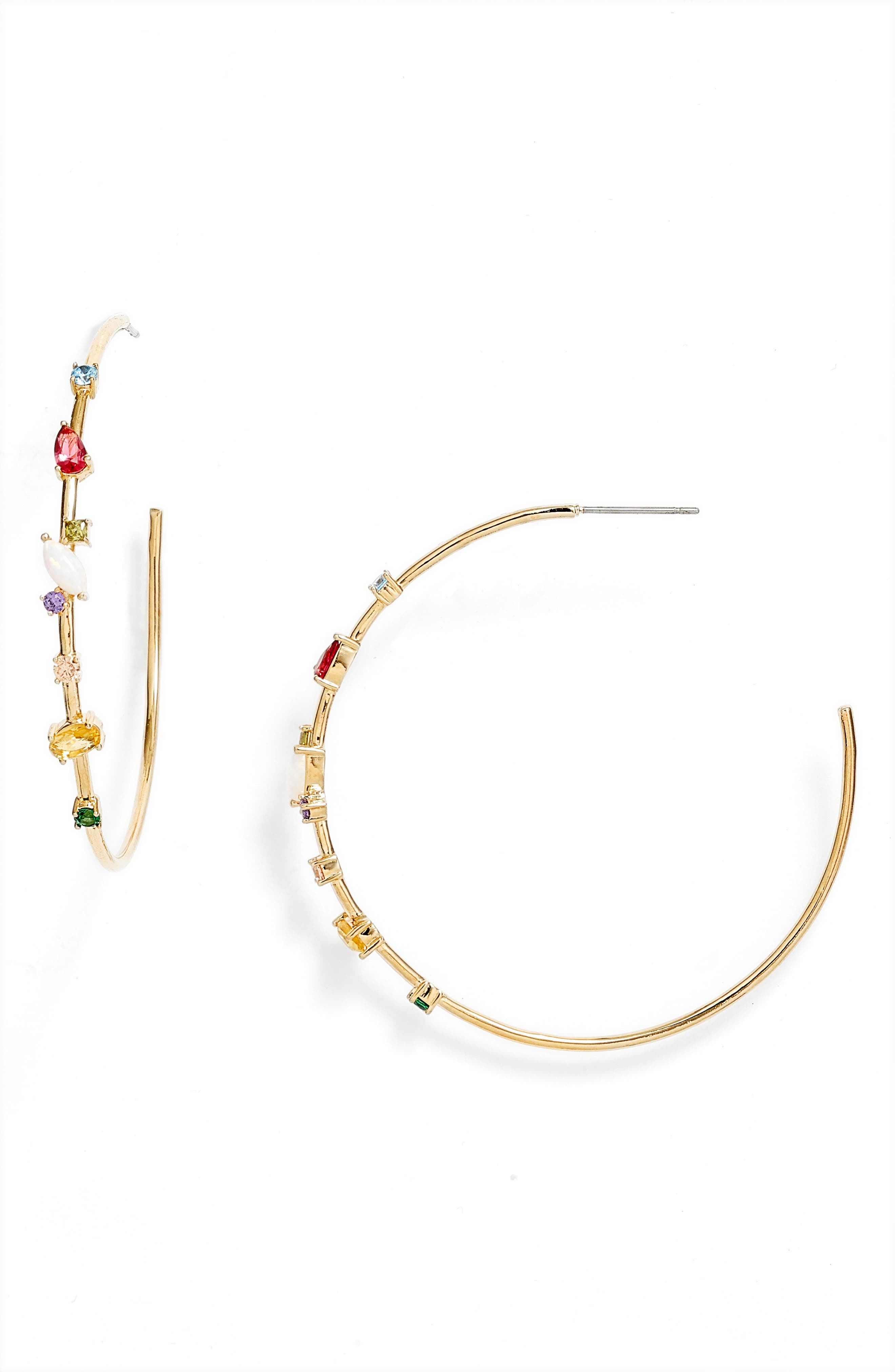 Tiny stones dancing along the edge add sparkling glamour to these gleaming hoop earrings destined to make a statement. Style Name: Nordstrom Crystal Detail Hoop Earrings. Style Number: 6016822. Available in stores.