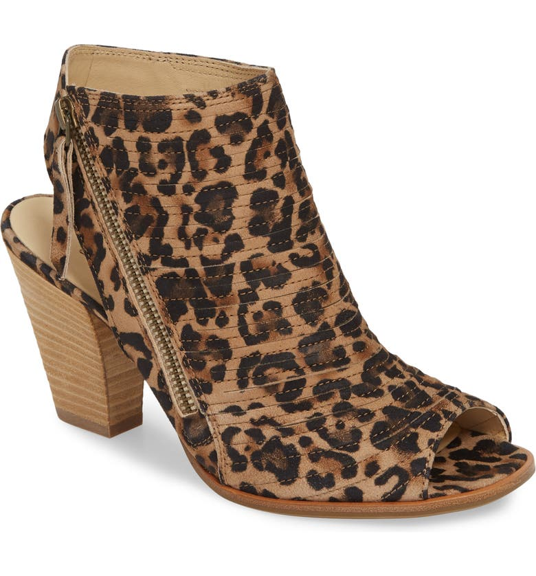PAUL GREEN 'Cayanne' Leather Peep Toe Sandal, Main, color, LEOPARD SUEDE