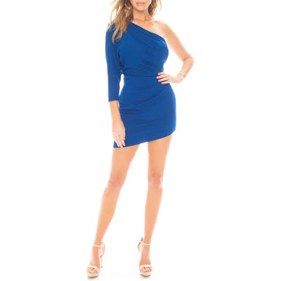 Kaite May One-Shoulder Ruched Minidress, Blue
