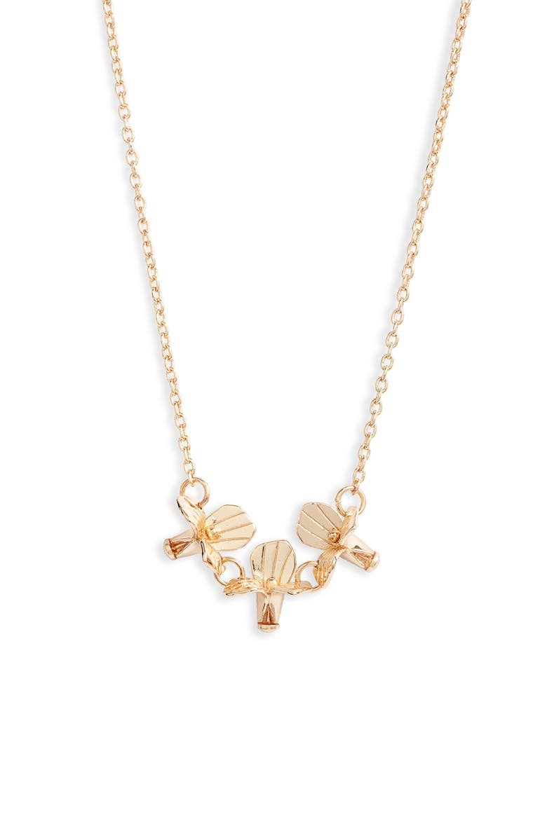 LELE SADOUGHI Triple Flower Necklace, Main, color, GOLD