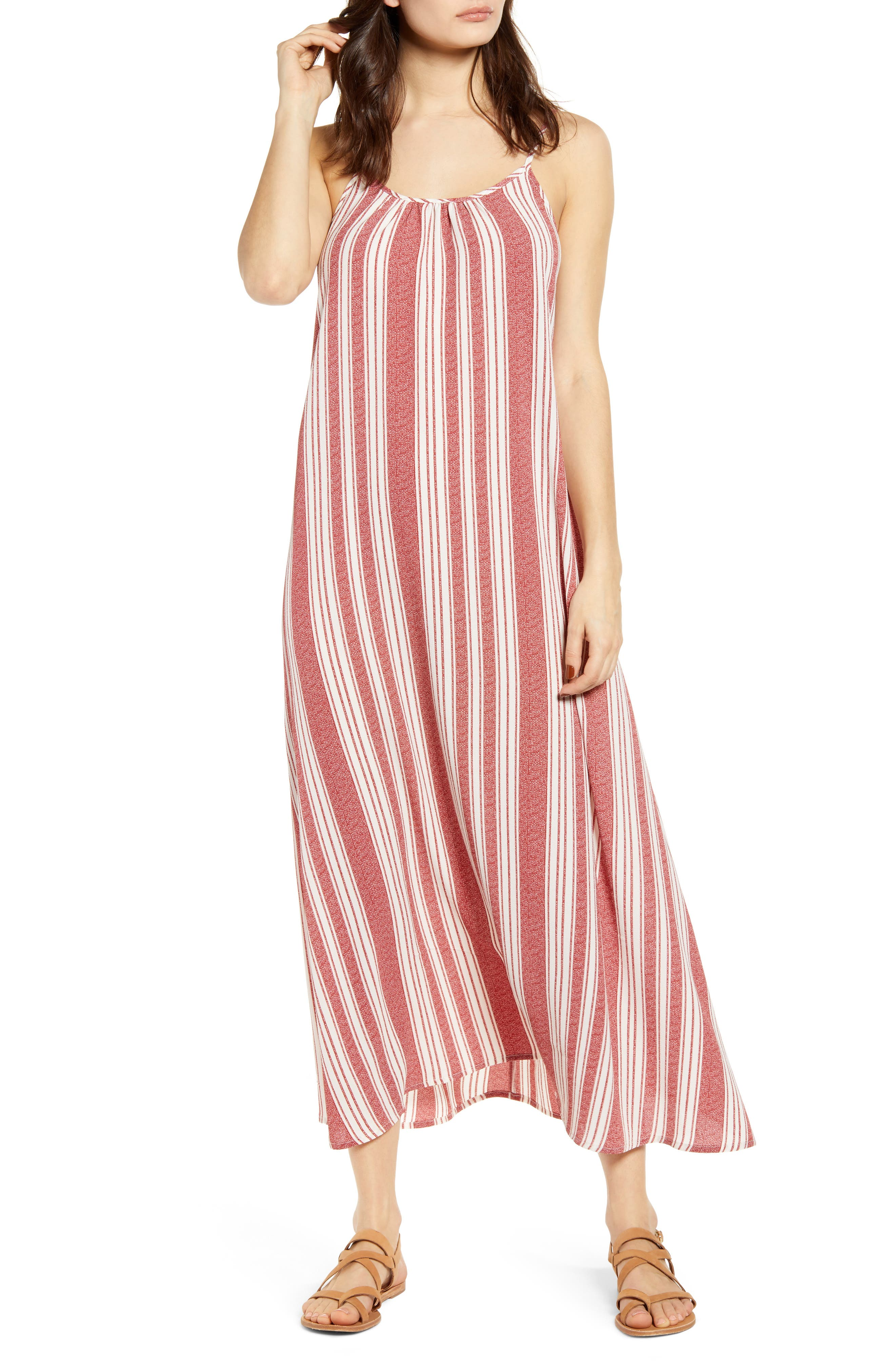 Band Of Gypsies Stripe Maxi Dress, Coral