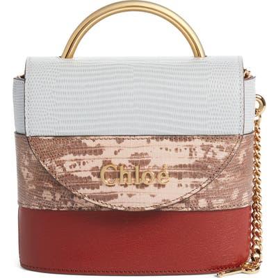 Chloe Aby Lock Colorblock Reptile Embossed Leather Crossbody Bag - Brown