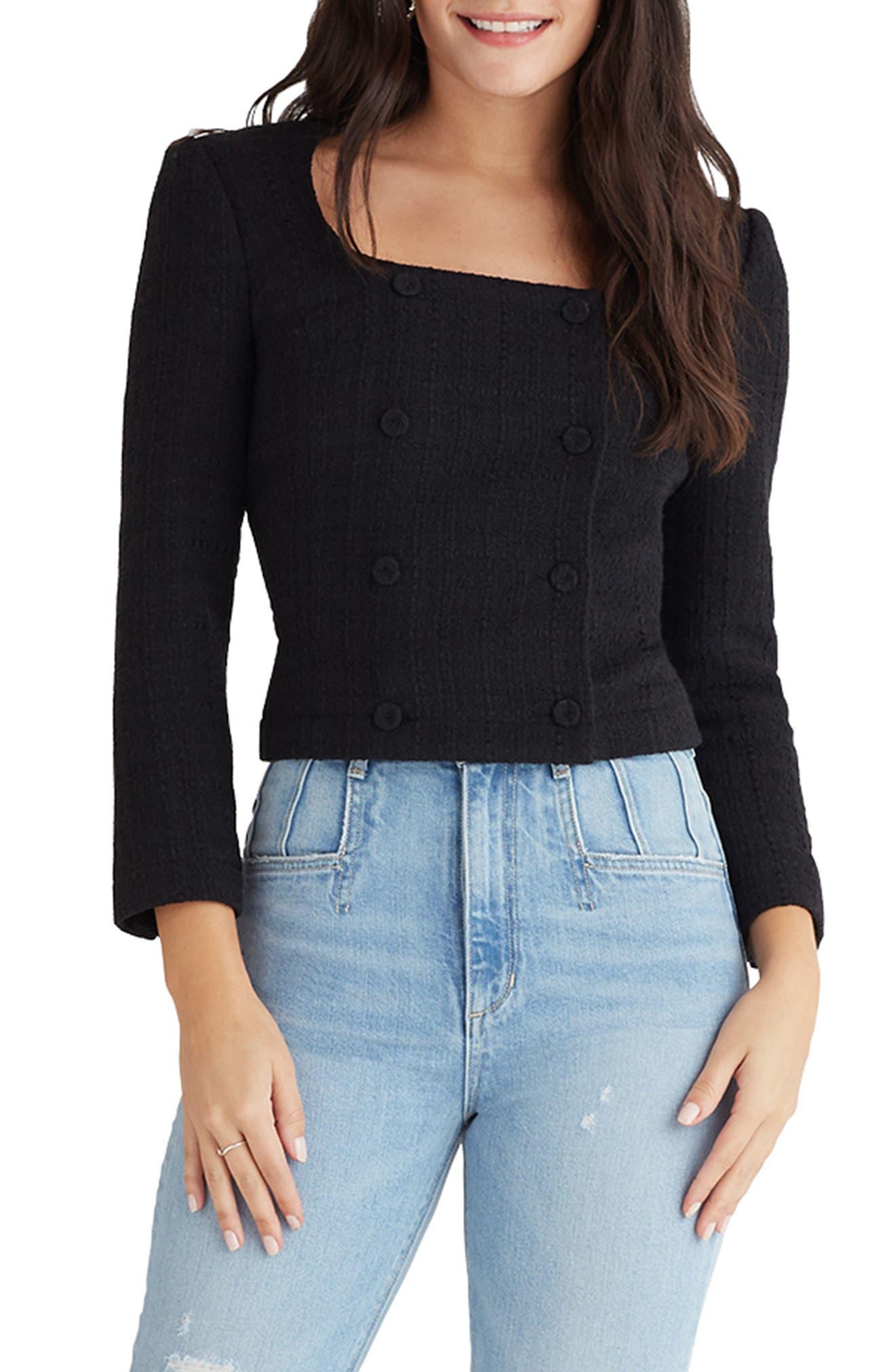 Button Front Cotton Blend Tweed Jacket