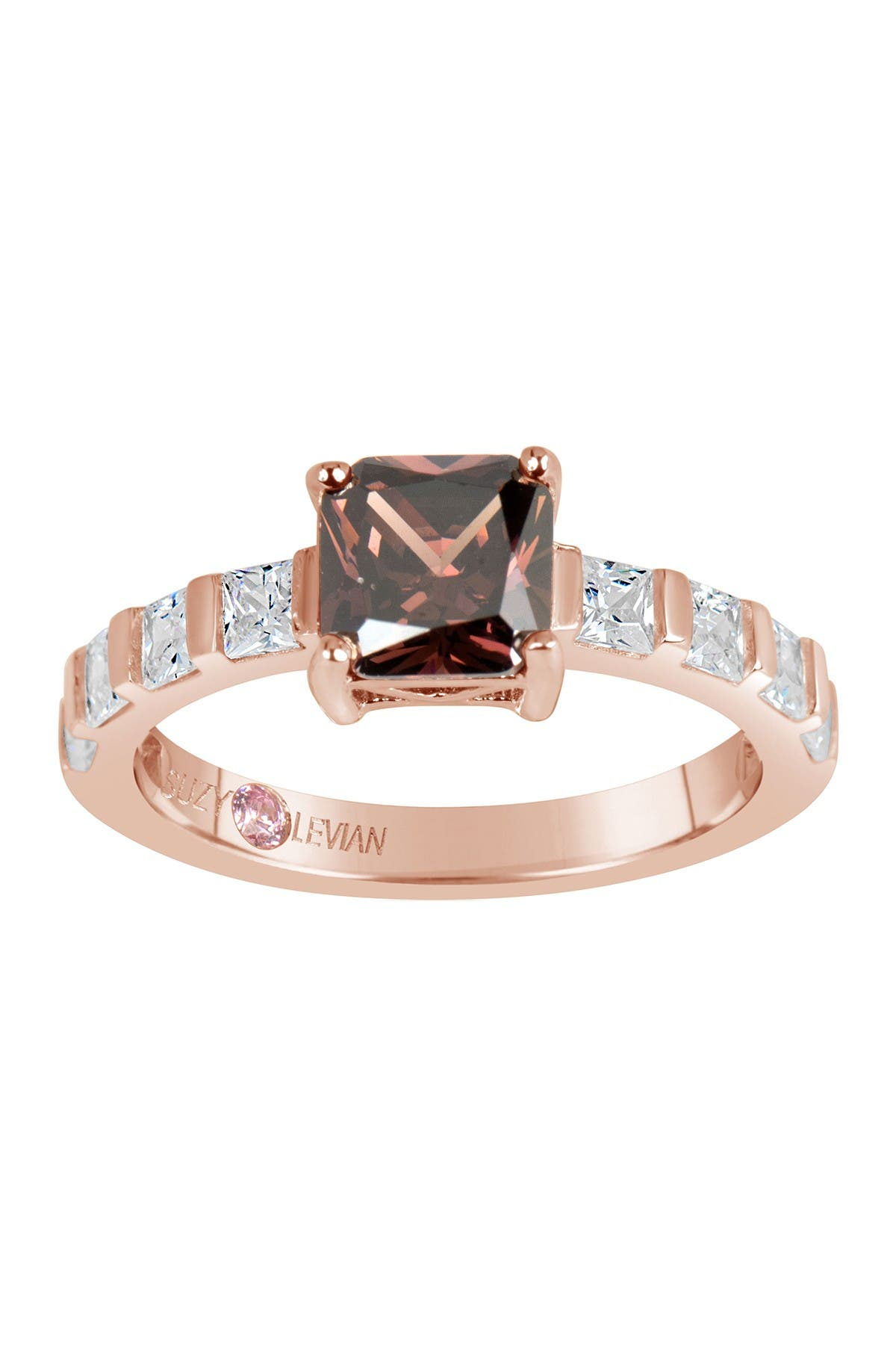Image of Suzy Levian Prong Set Asscher Cut CZ Solitaire Ring