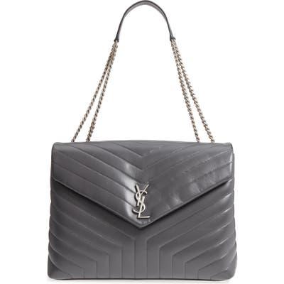 Saint Laurent Large Loulou Matelasse Leather Shoulder Bag - Grey