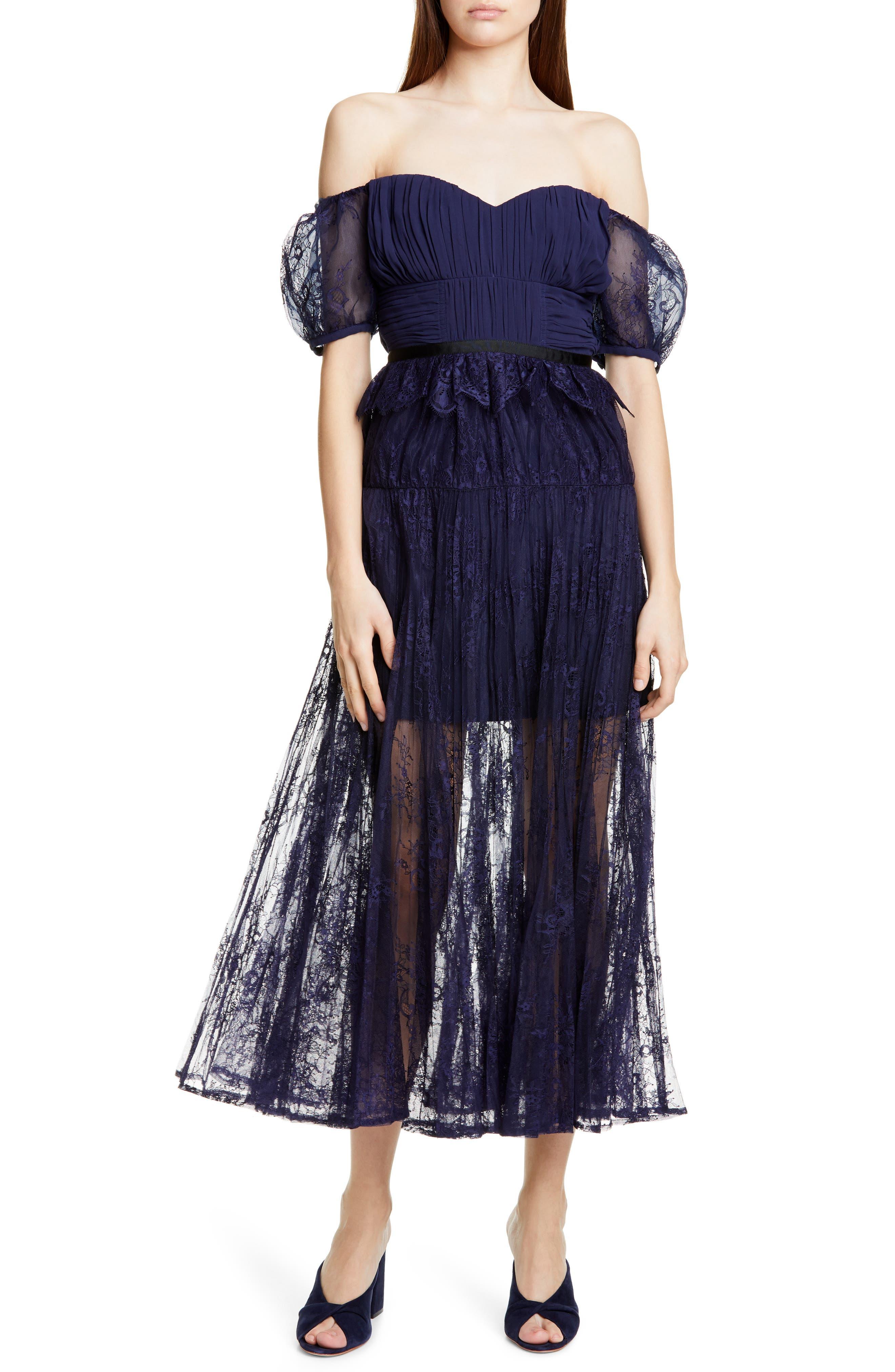 Self-Portrait Off The Shoulder Floral Lace Midi Dress, Blue