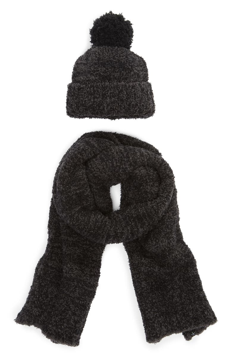BAREFOOT DREAMS<SUP>®</SUP> Barefoot Dreams Pompom Beanie & Scarf Set, Main, color, HE CARBON-BLACK