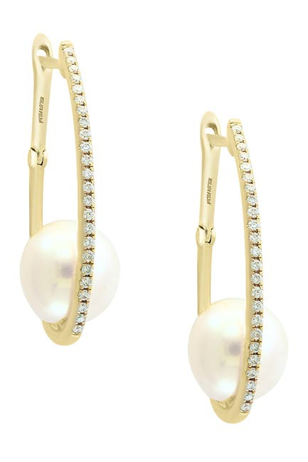 Image of Effy 14K Yellow Gold 8mm Freshwater Pearl & Pave Diamond 22mm Hoop Earrings