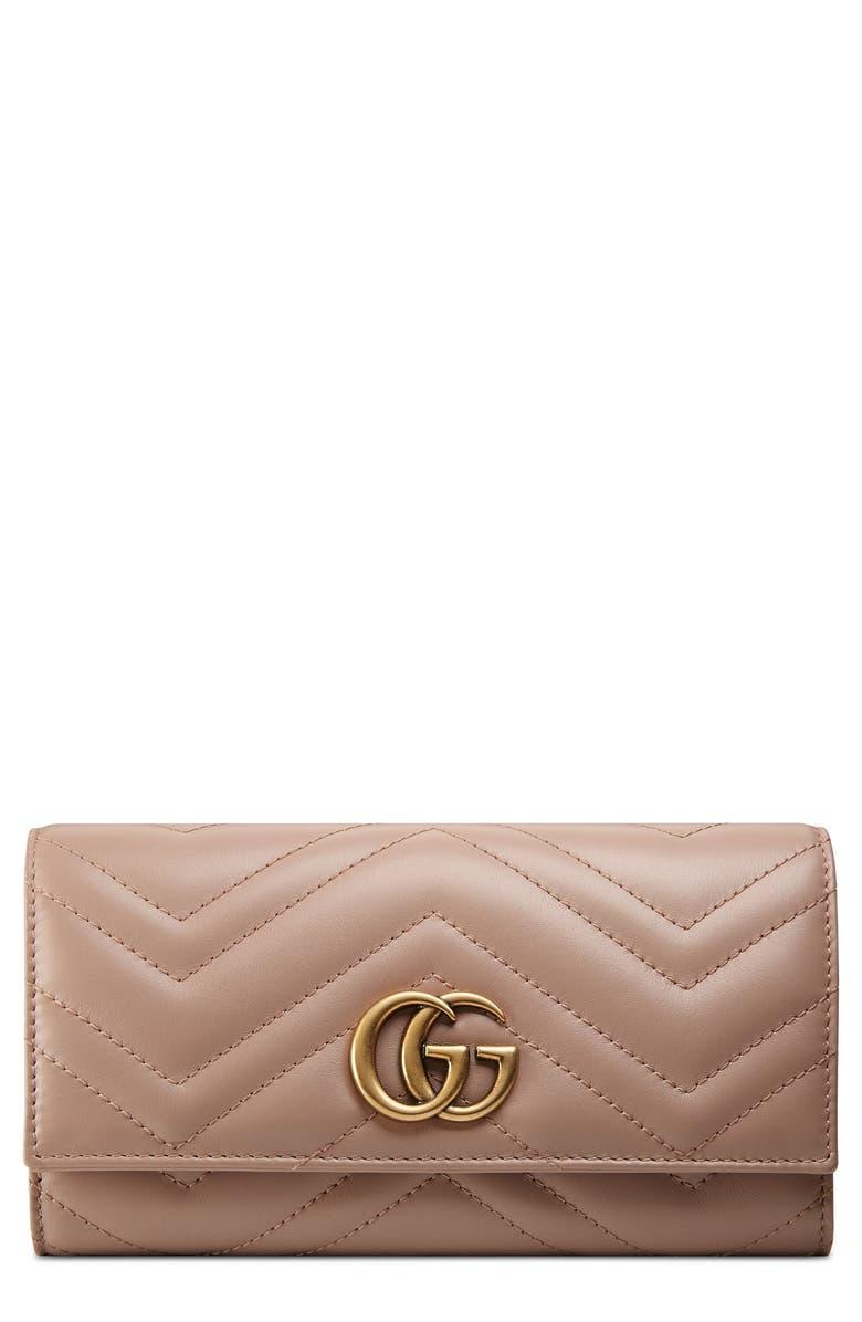 GUCCI GG Marmont Matelassé Leather Continental Wallet, Main, color, 250