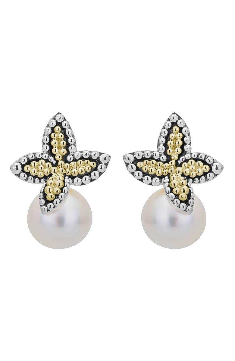 LAGOS Luna Pearl Floral Cap Drop Earrings, Main, color, TWO TONE/ PEARL