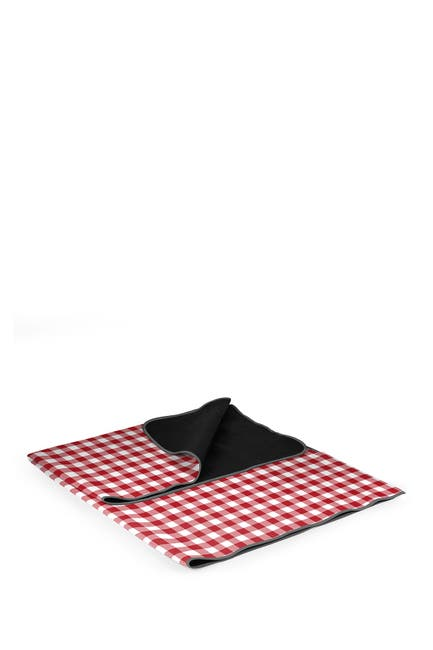 Image of Picnic Time Blanket Tote Outdoor Picnic Blanket - Red Check with Black Lining