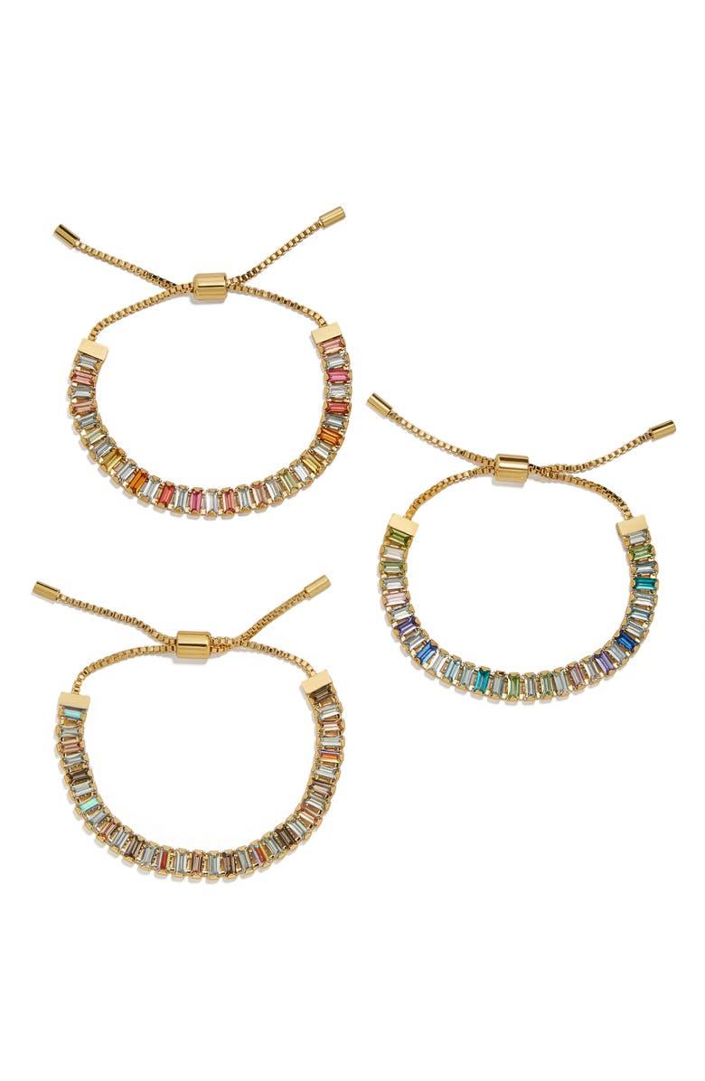 BAUBLEBAR Alidia Set of 3 Slider Bracelets, Main, color, MULTI/ GOLD