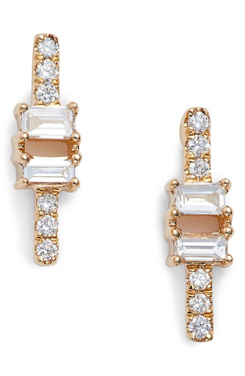 DANA REBECCA DESIGNS Sadie Baguette Bar Stud Earrings, Main, color, YELLOW GOLD